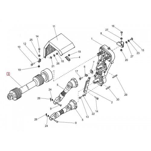 Вал карданный телескопический с защитным кожухом (привод питающего) ПКК 0140000